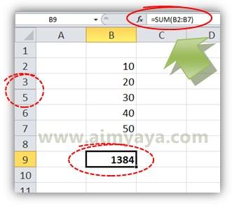 Gambar: Contoh ketidaksesuaian hasil penjumlahan dengan nilai yang ditampilkan pada microsoft excel