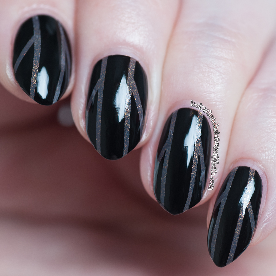 Illamasqua Facet and Ulta3 Black Satin striping tape nail art