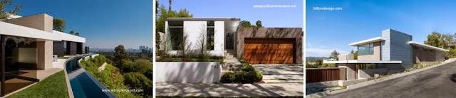 Tres imágenes de casas residenciales contemporáneas en California