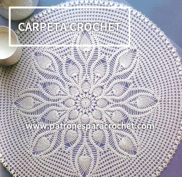 Carpeta redonda con centro de piñas / patrones | Patrones para Crochet