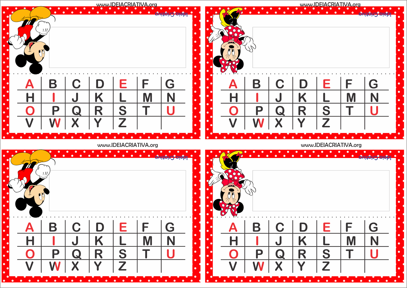Crachás para Mesa Mickey e Minnie com Alfabeto