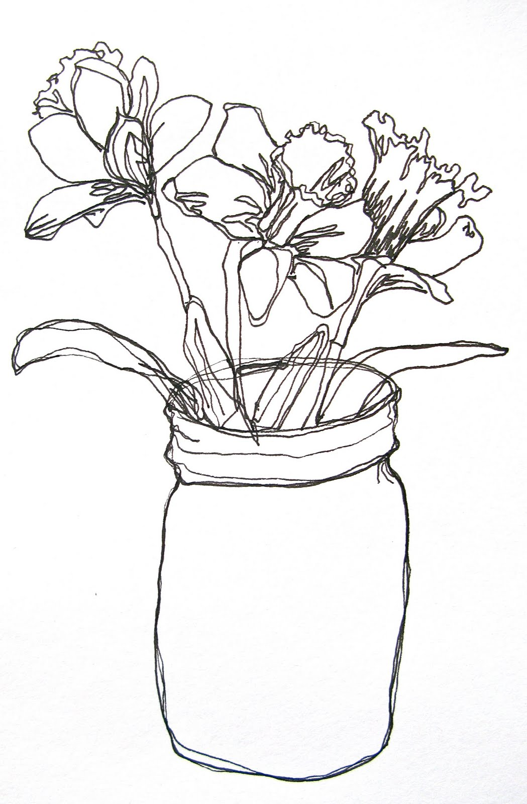 Contour Line Drawing Plant : Corrieberry pie flower doodles