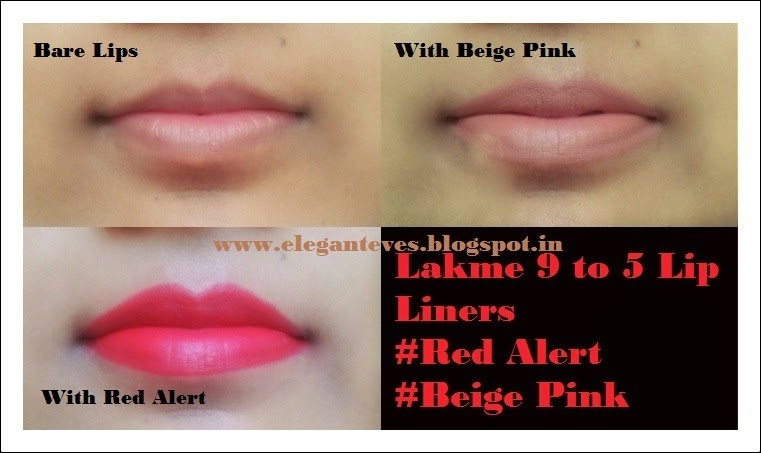 Lakme 9 to 5 Lip liners in Beige Pink and Red Alert