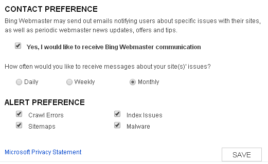 Form Bing Webmaster