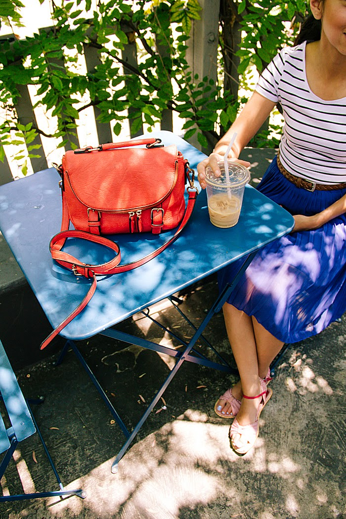 stripe top, blue pleated skirt