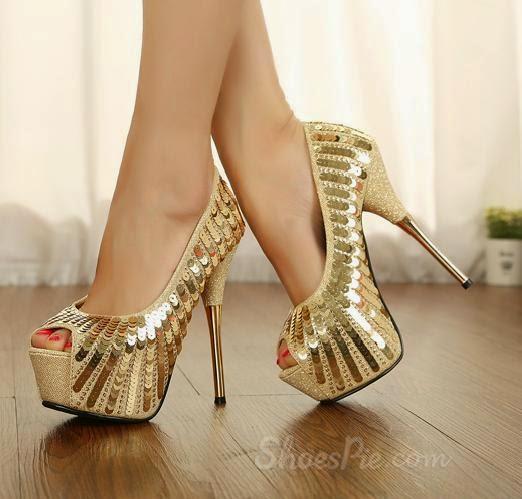 Sparkle Glitter Peep-toe Platform Stiletto Heels