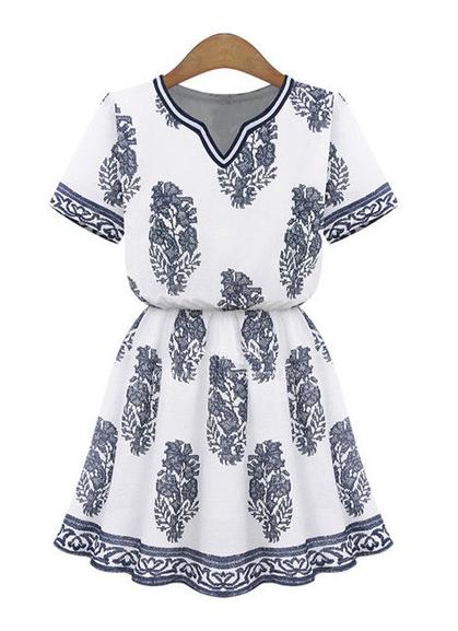 Summer Fashion - Blue Print White Tunic