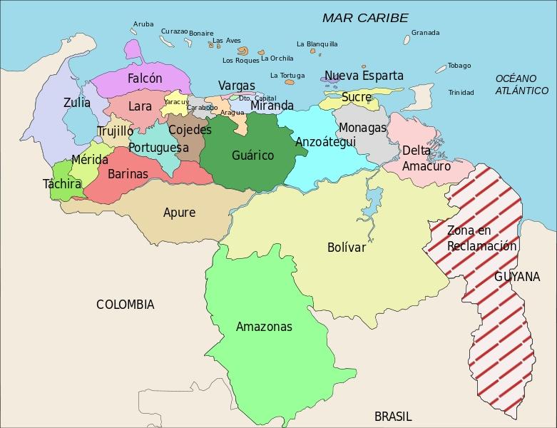 Mapas de Venezuela: Mapa de venezuela con sus limites