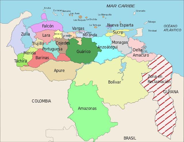 Mapa de venezuela con sus limites