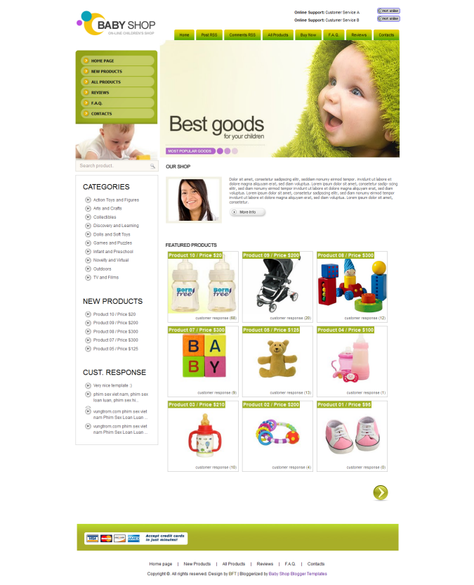 Store Blogger Templates Baby Shop Blogger Template | Nulled Clone Script