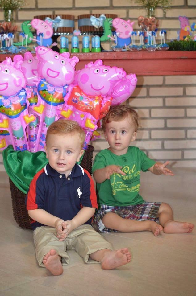 Festa George Pig para gêmeos feita em casa