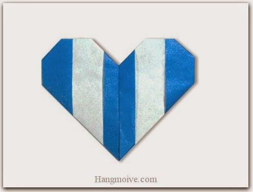 Cách gấp, xếp trái tim kẻ sọc bằng giấy origami - Video hướng dẫn xếp hình trái tim quà tặng - How to fold a Line Heart