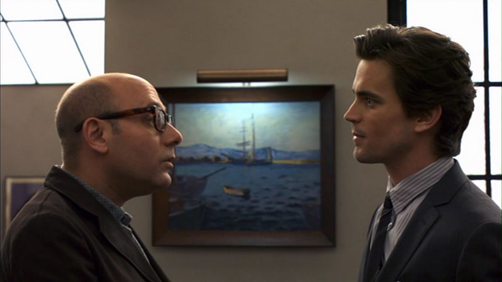 A closeup of the ship painting in Nea's apartment, White Collar