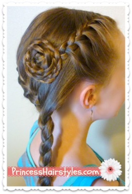 Side Swept French Braided Flower Hairstyle Tutorial