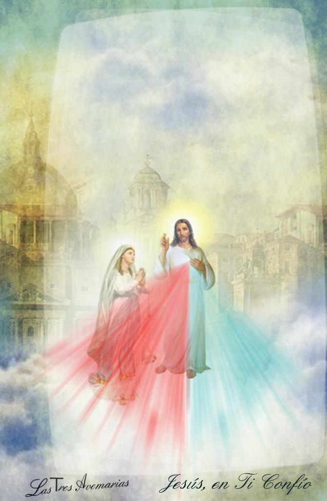 divina misericordia y virgen maria juntos en foto de misericordia divina