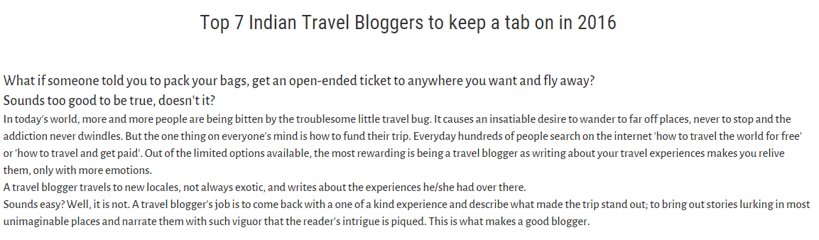 Featured as a Top Travel Blogger by Zostel