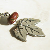 maple leaf necklace in recycled fine silver with Owyhee Oregon Jasper on Etsy by Jennifer Kistler