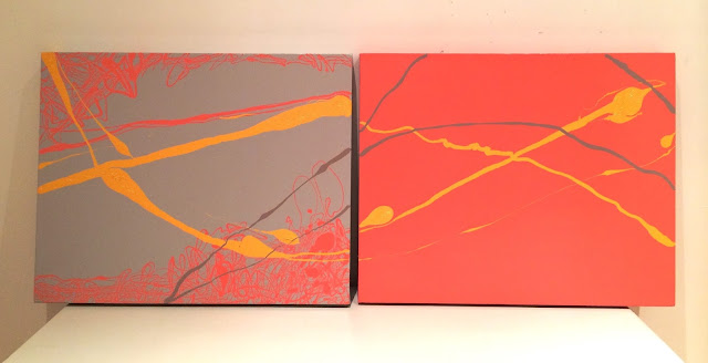 Grey and orange abstract painting diptych