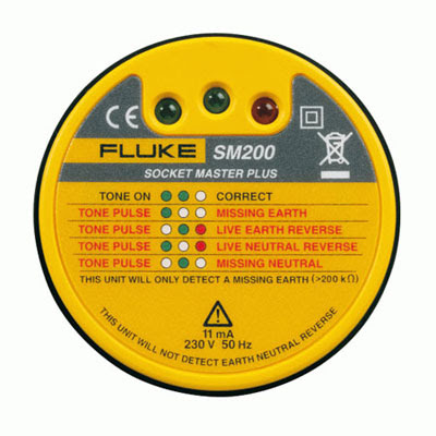 The Fluke SM200 Socket Tester with Buzzer(Fluke 2406964 Professional Socket Tester)