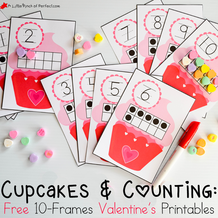 Free 10 Frames Valentineu0027s Day Math Printables With Hearts And  Cupcakes Perfect For Learning