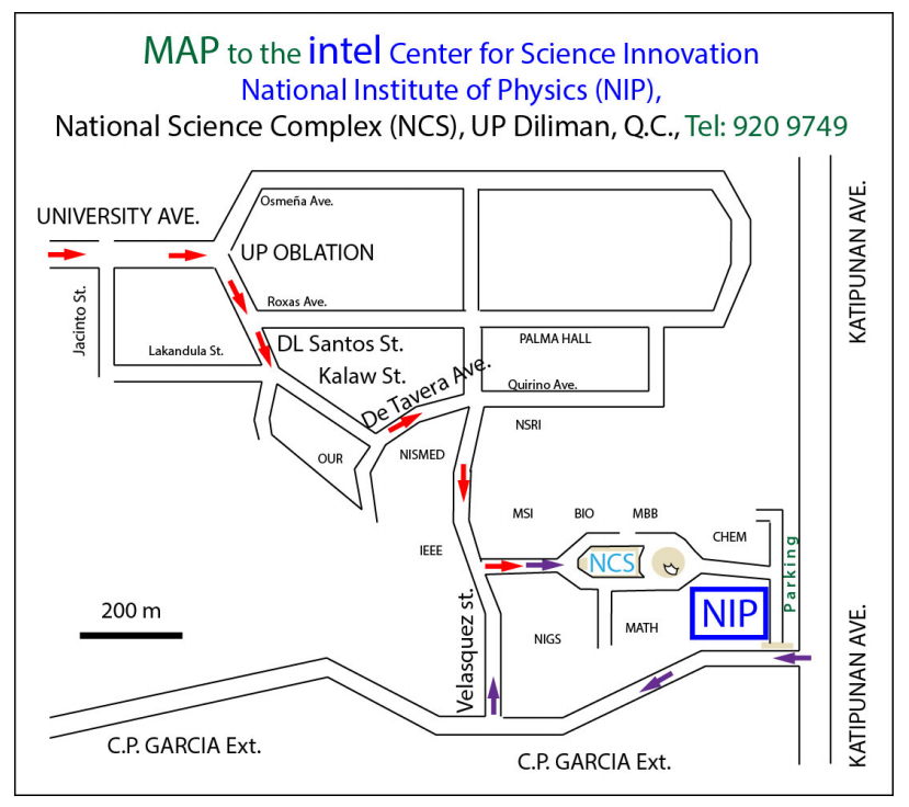 SPP 2014 map to the Intel Center for Science Innovation at the National Institute of Physics, UP Diliman