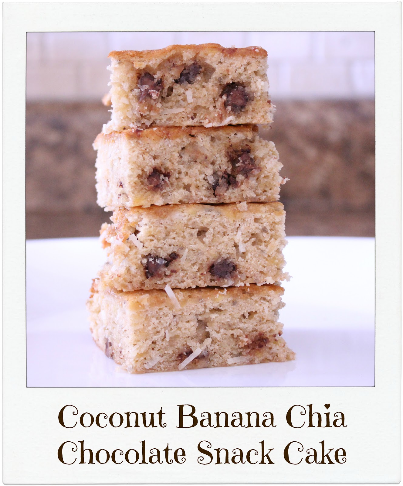 The recipe is up for the Coconut Banana Chia Chocolate Snack Cake