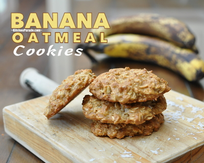 Banana Oatmeal Cookies ♥ KitchenParade.com, oatmeal cookies with a banana twist.