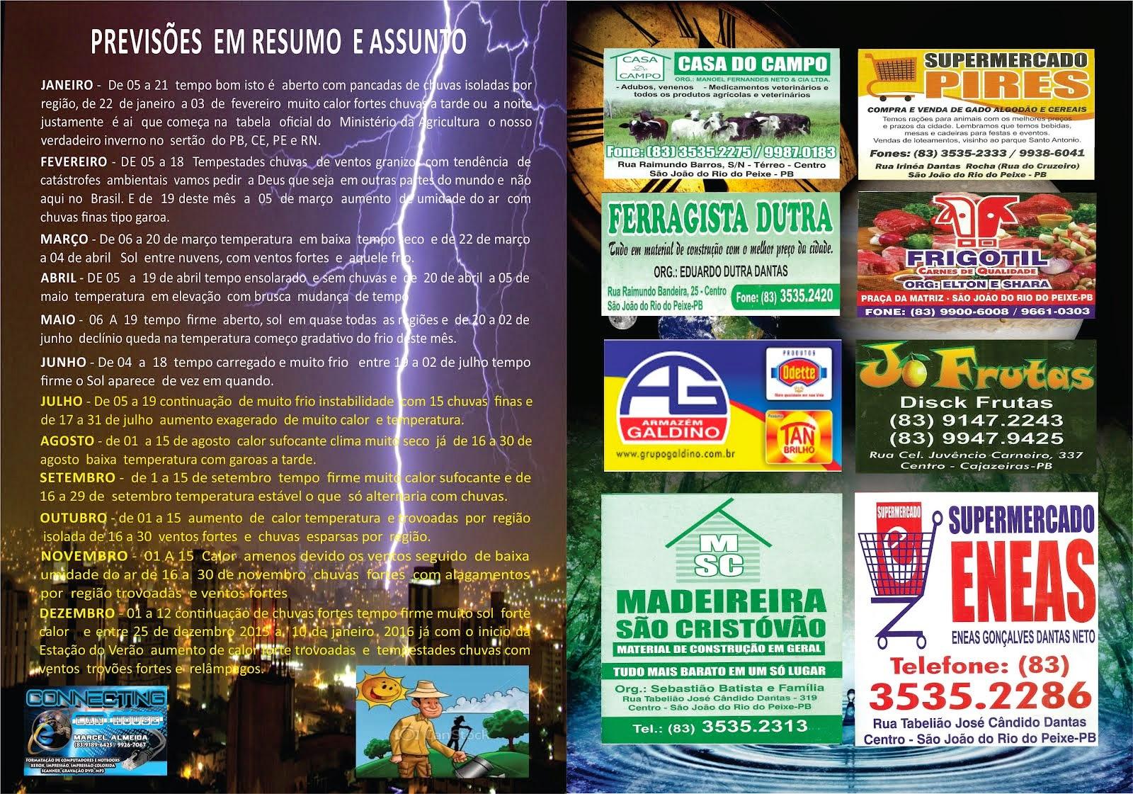 CONTRA CAPA DO ALMANAQUE DO SERTÃO ANO  2015  UMA  DAS PREVISÕES
