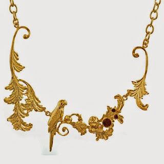 Alex Monroe Baroque Parrot and Fruit Necklace