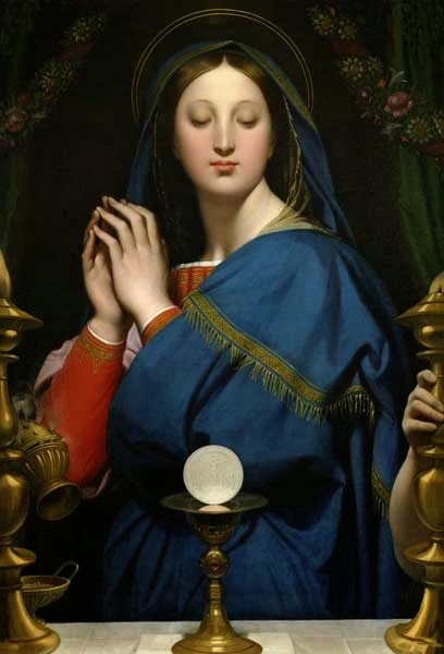 The Virgin Mary adoring the Holy Eucharist