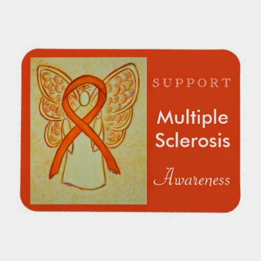 Multiple Sclerosis Awareness Orange Ribbon Angel Gifts Rectangle Kitchen Magnets