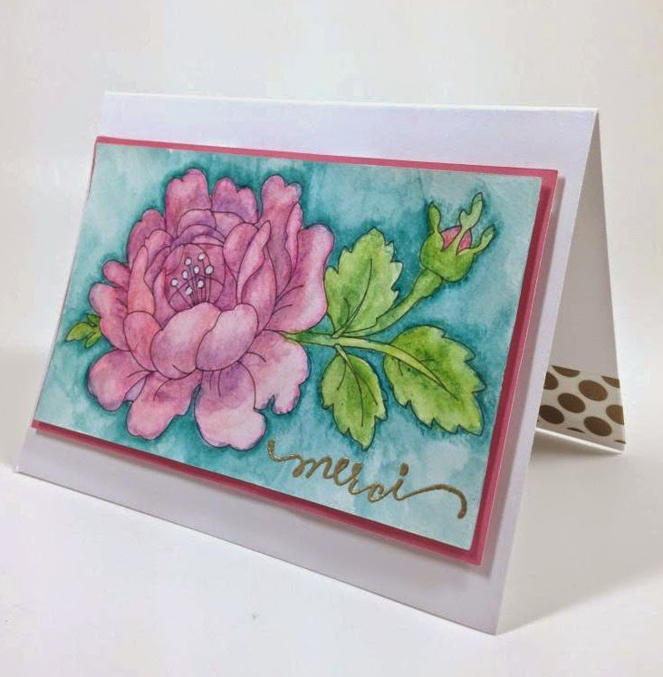 Cricut Rose Watercolor card sideview