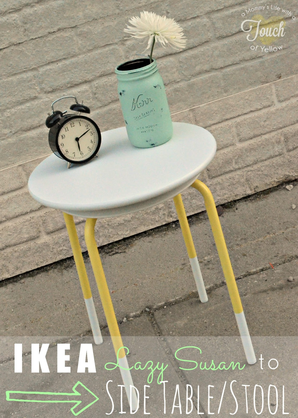 Ikea Lazy Susan To Side Table/ Stool {Ikea +10 Tutorial}