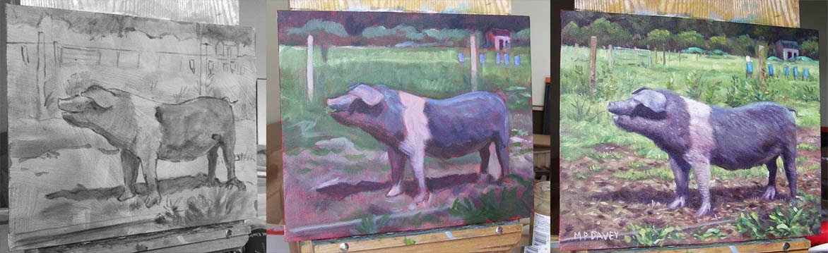 Oil painting of pig in stages