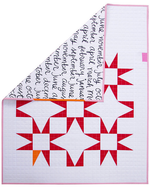 Modern Red and White Star Baby Quilt