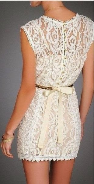 see more Fashionable White Lace Dress