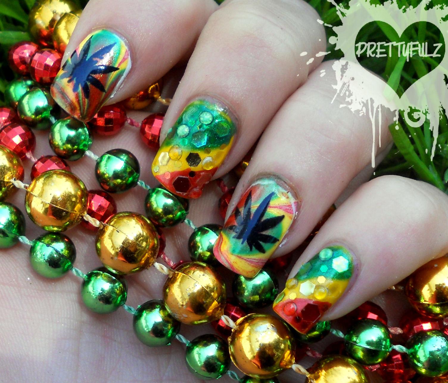 Prettyfulz: Rasta Deco Nail Art Design