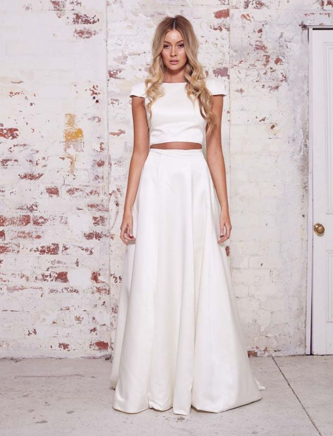 A Line Skirt Modest Crop Top Wedding Gowns | wedding bridal gowns