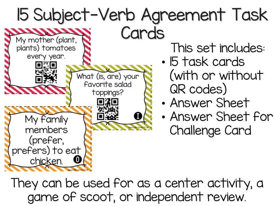 Subject Verb Agreement Task Cards Subject Verb Agreement With Or