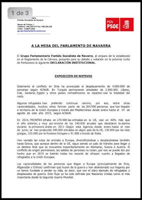 Declaración Institucional en el Parlamento de Navarra en relación a la crisis de los refugiados
