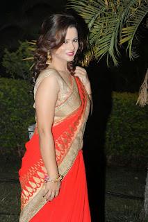 Shilpa Chakravarthy Latest Pictures in Saree at AIINA Women Awards 2014 Curtain Raiser 4