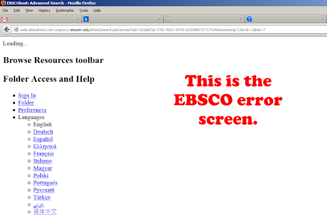 EBSCO error screen