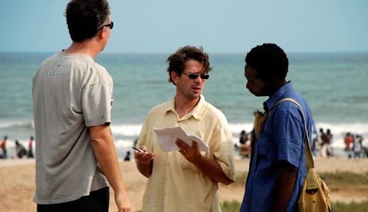 Filmmaker Deron Albright center with cinematographer Aaron T Bowen
