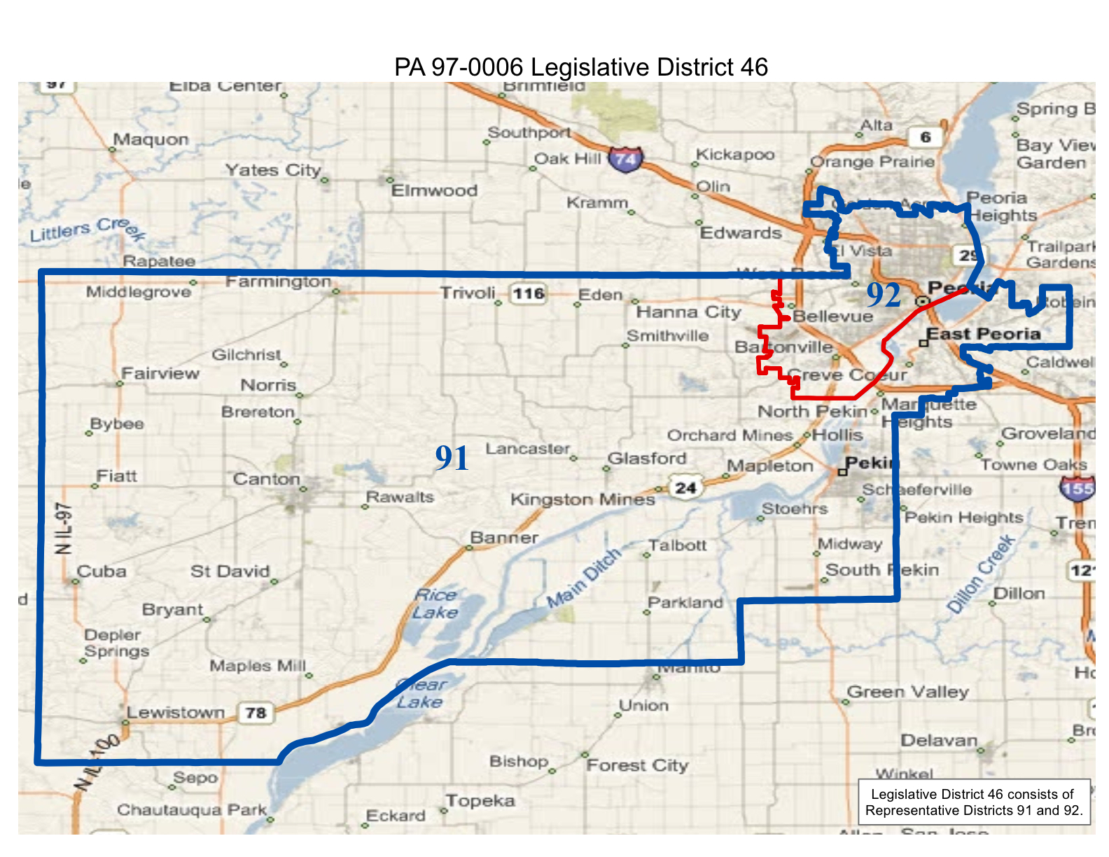 map of realigned illinois state senate district 46 and state representative districts 91 and 92