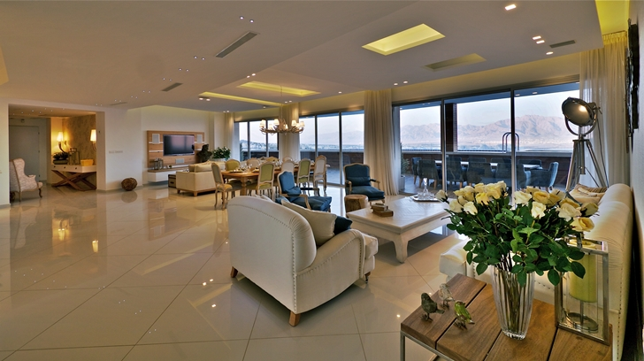 Interiors of penthouse apartment in the desert