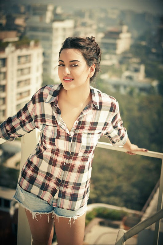 Sonakshi Sinha in check shirt and short jeans