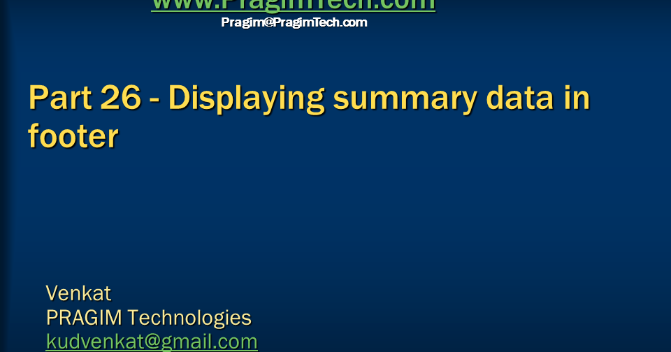 Sql server, .net and c# video tutorial: Part 26 - Displaying summary ...