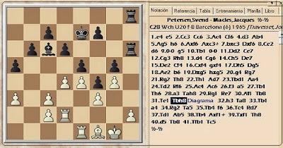 Posición de la partida de ajedrez Petersen-Macles del VIII Campeonato Mundial Juvenil de Ajedrez