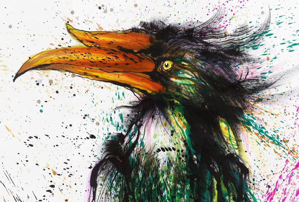 16-Toucan-2-Hua-Tunan-huatunan-Melting-&-Running-Ink-Drawings-www-designstack-co