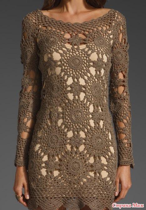 Vestido longo de croche grafico
